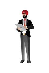 Indian bearded businessman in business suit using tablet computer. Corporate business people isolated vector illustration
