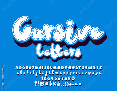 Vector Minimalistic White Cursive Letters With Shadow Set Of Cool
