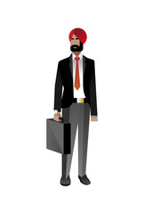 Indian bearded businessman in business suit with leather suitcase. Corporate business people isolated vector illustration