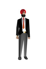 Indian bearded businessman in business suit. Corporate business people isolated vector illustration
