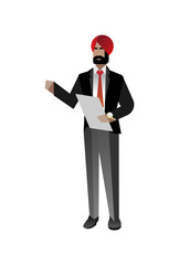 Indian bearded businessman in business suit with check list. Corporate business people isolated vector illustration