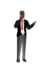 African businessman in glasses talking on phone. Corporate business people isolated vector illustration