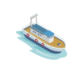Seaport tugboat isometric 3D element. Sea shipping logistics, commercial world marine delivery, freight transportation vector illustration.