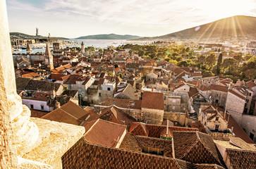 Historic town Trogir, Unesco, Croatia, yellow filter