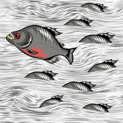 Cartoon Fish Swimming on Water Background