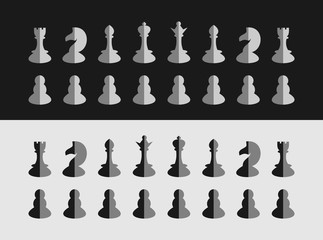 Chess figures, black and white. Vector