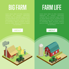 Natural farming isometric vertical flyers. Hay making process, tractor near rural farm barn. Agricultural constructions and machinery on big farm, traditional eco agrobusiness vector illustration.