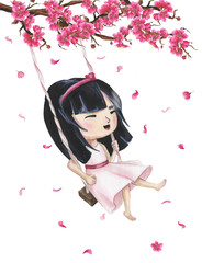 Hand drawn watercolor smiling japanese girl riding on a swing. Branch with sakura flowers and flying petals.