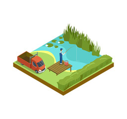 Man fishing in lake isometric 3D element. Countryside relax isolated vector illustration.