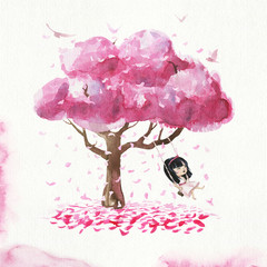 Hand drawn watercolor smiling japanese girl riding on a swing. Sakura tree, petals and birds. Ready card/poster.