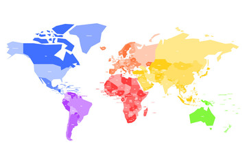 Fototapete - Colorful map of World. Simplified vector map with country name labels.