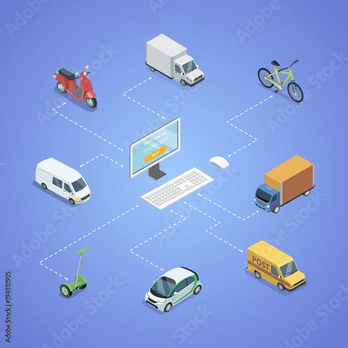 City transport logistics isometric infographics  Freight