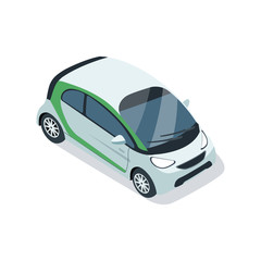 Small city car isometric 3D element. Motor transportation icon, urban and countryside traffic icon vector illustration.