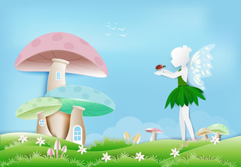 Fairy with ladybug in garden and mushroom house paper art, paper cut style background