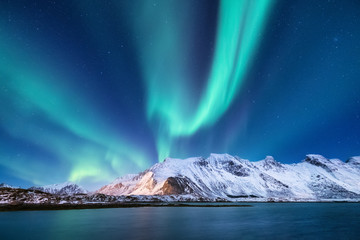 Foto auf Leinwand Insel Northen light under mountains. Beautiful natural landscape in the Norway