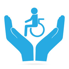 Disabled in hands blue icon. Protection, care concept