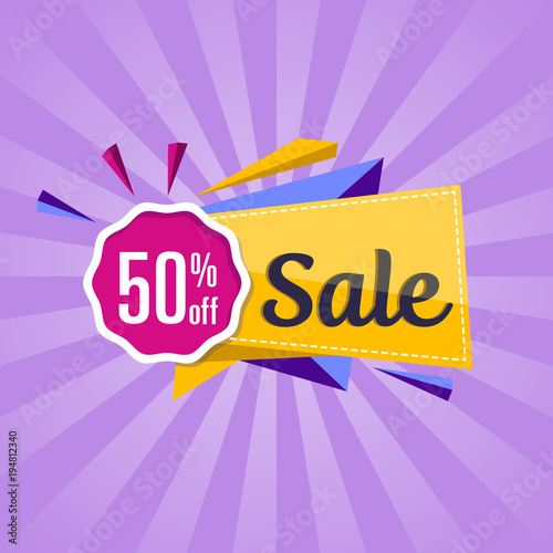 50 off discount offer poster with sale tag on purple background
