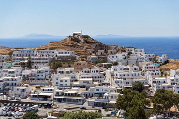 view of Chora village, Ios Island, Greece