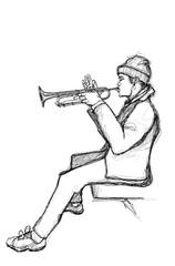 In de dag Art Studio Sketch of a trumpet player