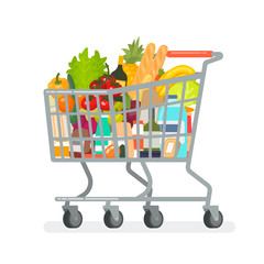 Grocery cart from the supermarket with products. Vector illustration