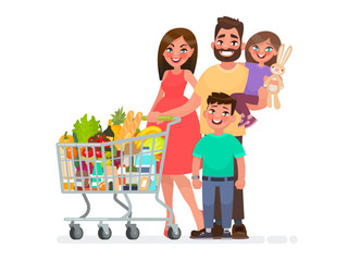 Happy family with a grocery cart full of products is shopping at the supermarket. Vector illustration