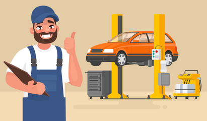 Fotobehang Cartoon cars Service and repair of the car. Automechanic on the background of the car on the lift. Vector illustration
