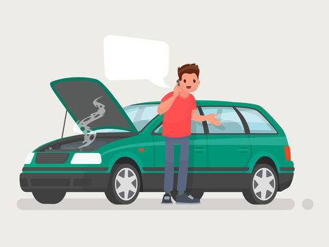 Breakdown of the car on the road. A man calls the service to help. Vector illustration