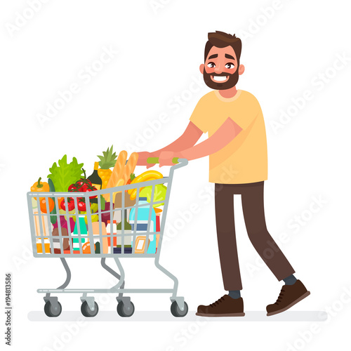 man is carrying a grocery cart full of groceries in the supermarket vector illustration stock. Black Bedroom Furniture Sets. Home Design Ideas
