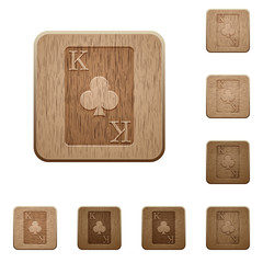 King of clubs card wooden buttons