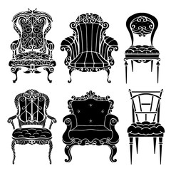 Furniture hand drawn set, vintage chair, armchair, throne