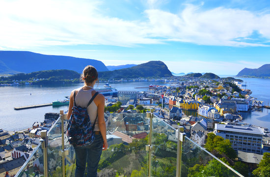 Alesund, Norway - September 09, 2017: Cityscape of Alesund, Norway on a bright sunny day