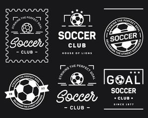Football badge set white on a black background