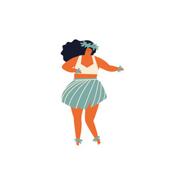 Woman dancing Hula hawaiian dance illustration