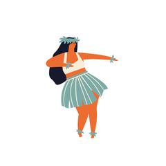 Woman dancing Hula hawaiian dance illustration