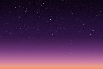 Vector illustration of morning or evening starry sky with sunrise
