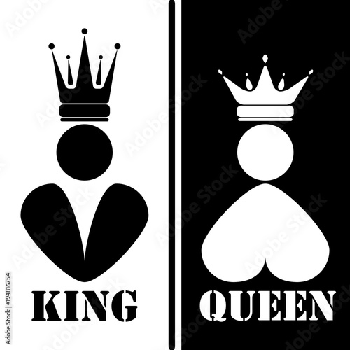 Black And White Silhouette Of King And Queen Royal Family Vector