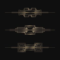 Art Deco dividers collection. Vector golden separators. Retro design elements.