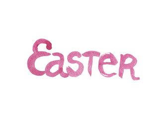 The word Easter written in watercolor washes over a white background