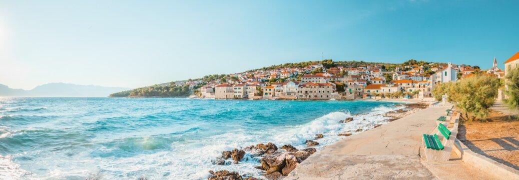 Panoramic view on a beach of a small beautiful town Postira - Croatia, island Brac