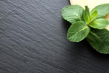 Mint leaves on slate board