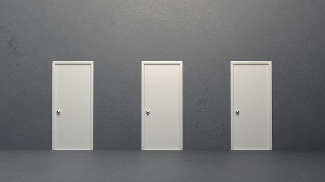 Three closed doors. 3d illustration