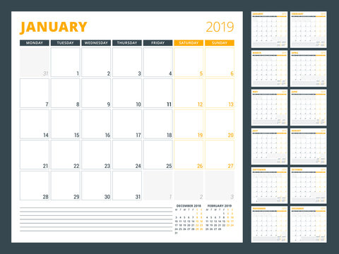 Calendar planner template for 2019 year. Week starts on Monday. Vector illustration