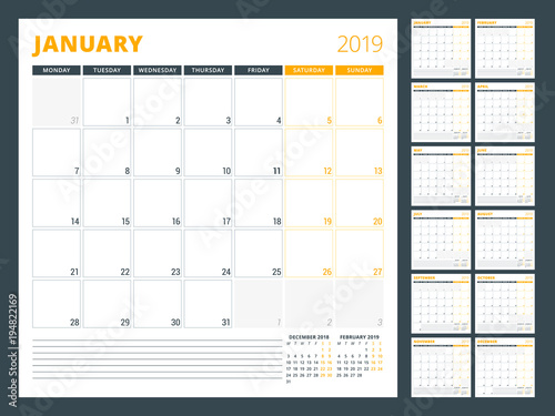 Calendar planner template for 2019 year  Week starts on Monday