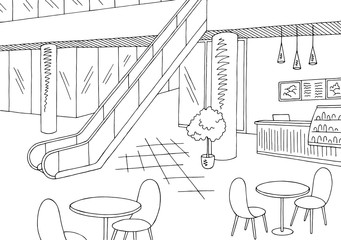 Mall cafe graphic black white interior sketch illustration vector