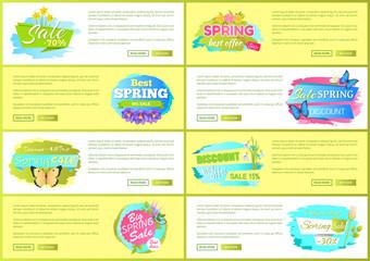 Spring Big Sale Advertisement Labels Set Flowers