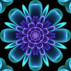Abstract flower fractal in blue green