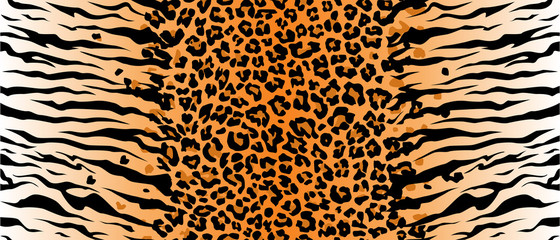 Print leopard tiger jaguar texture abstract background orange black. Vector jungle. Bengal cat. strip