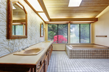 Spacious master bathroom with double vanity cabinet