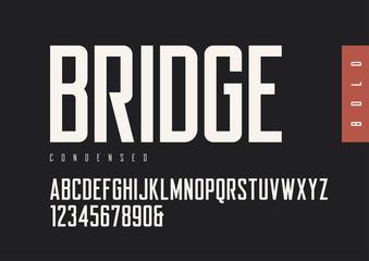 Condensed bold retro sans serif. Vector typefaces, uppercase alp