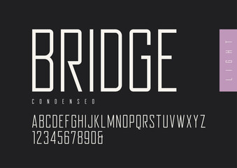 Condensed light retro sans serif. Vector typefaces, uppercase al